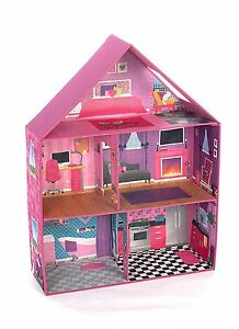 Modern Pink Barbie Dream House Home Play Room Set Girls Miniature