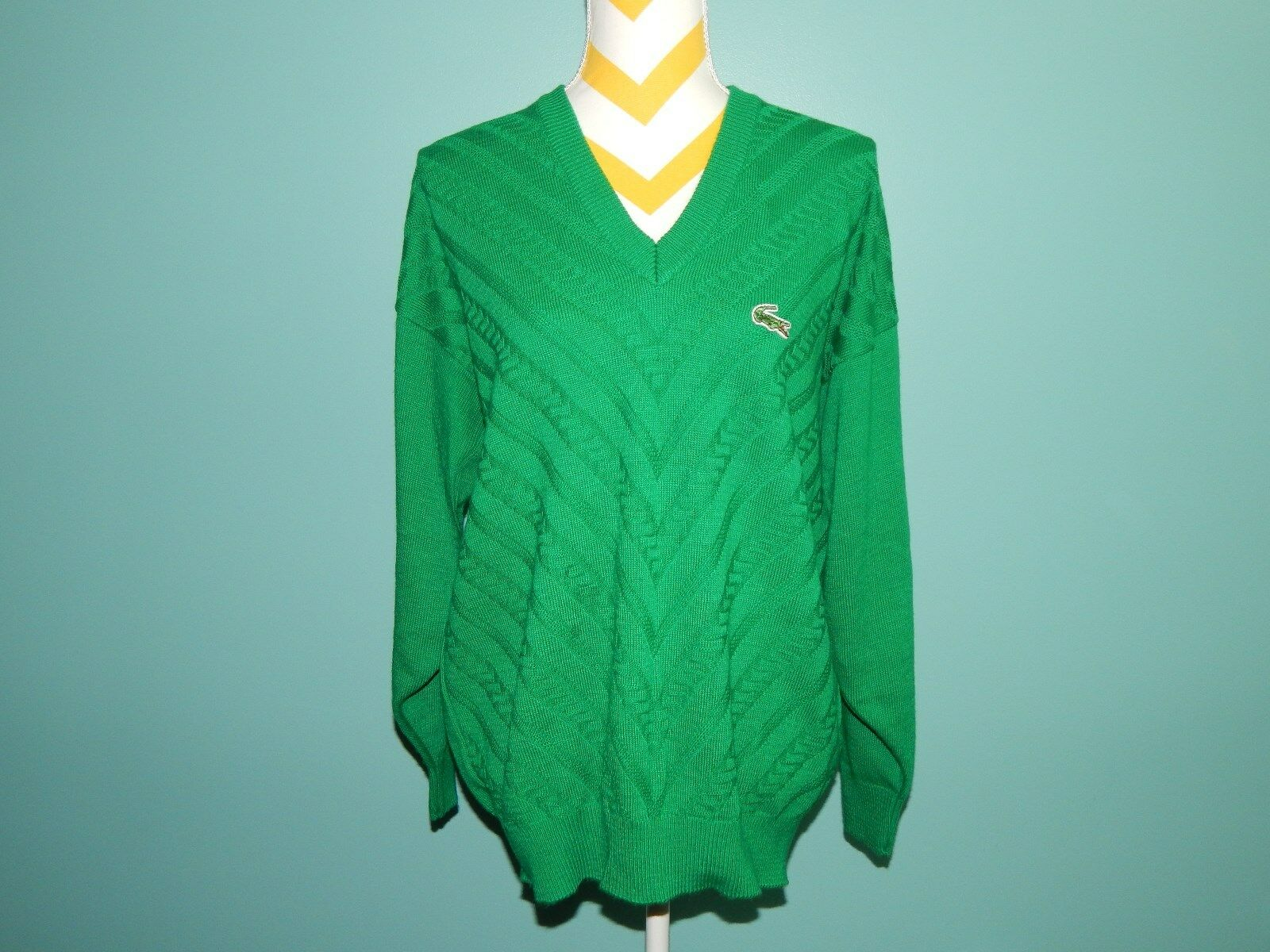 VTG LACOSTE Green Gator Cable Knit Jumper Sweater Chemise Made in France sz L XL