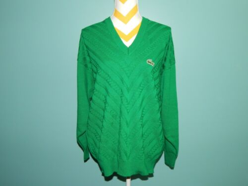 VTG LACOSTE Green Gator Cable Knit Jumper Sweater