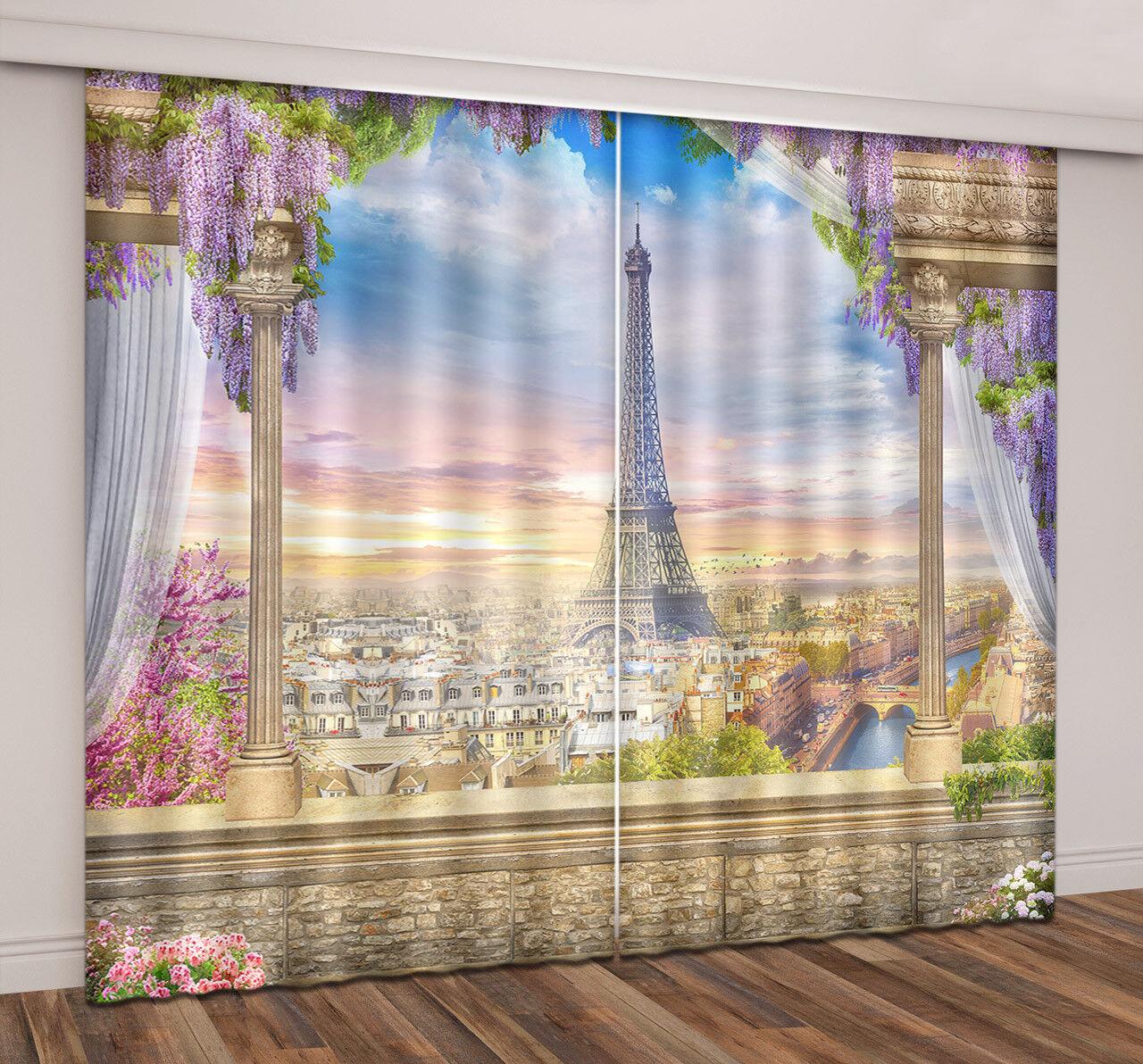 lila Flower 2 Panels Eiffel Tower Paris View Window Curtains 3D Curtain Drapes