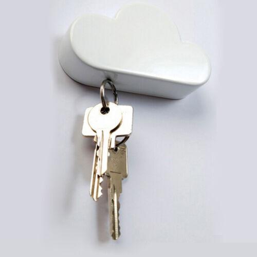 White Cloud Shape Magnetic Key Holder Sticker Backside Home Wall Hanger Goody