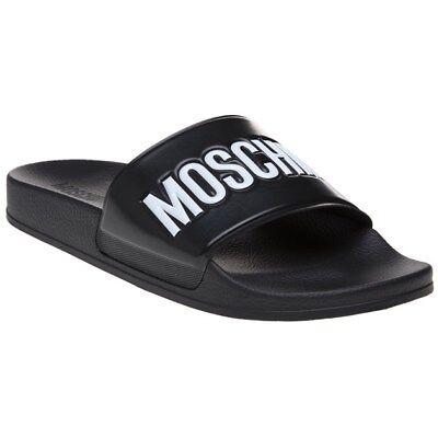 100% QualitäT New Mens Moschino Black Logo Pool Slide Synthetic Sandals Slides Slip On SchnäPpchenverkauf Zum Jahresende
