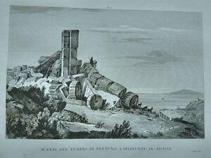 1845-Zuccagni-Orlandini-Avanzi-del-Tempio-di-Nettuno-a-Selinunte-in-Sicilia