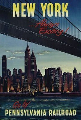 NEW YORK ~ ALWAYS EXCITING ~ 24x36 VINTAGE STYLE TRAVEL POSTER ~ NEW//ROLLED!