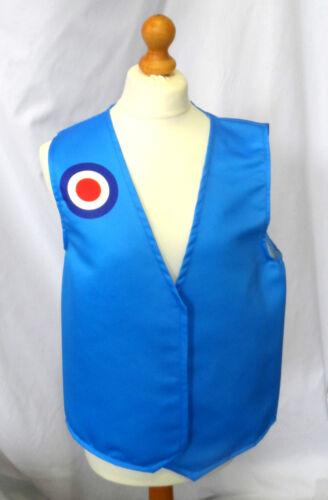 Funny Novelty Waistcoat Blue Mod Target Fun Fancy Dress Gift Idea Party Festival