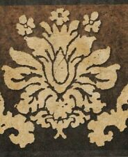 Wallpaper Border Dark Gold Damask on Brown to Black Background