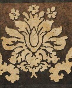 Wallpaper-Border-Dark-Gold-Damask-on-Brown-to-Black-Background