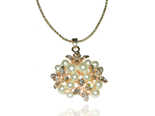 Luxury Gold Plated White Pearls Cluster /& Rhinestone Butterflies Necklace N137