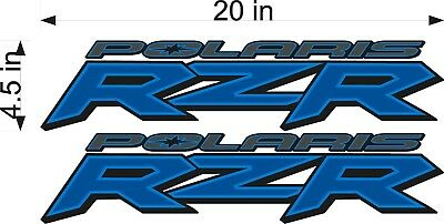 "PAIR BLUE 20/"" Vinyl ATV Trailer UTV Graphic Sticker Decal POLARIS RZR LOGO"