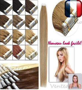 10-20-30-40-EXTENSIONS-DE-CHEVEUX-TAPE-IN-BANDE-ADHESIVE-NATURELS-REMY-53-60CM