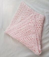 Knitwitz Hand Crochet Cotton Scarf/Shawl Pale Pink Cotton yarn