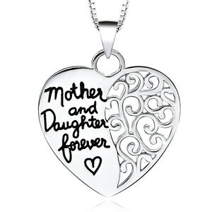 UK-Shop-Silver-039-MOTHER-AND-DAUGHTER-FOREVER-039-Engraved-Love-Heart-Necklace-Mum