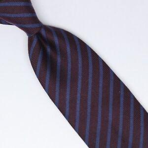 John-G-Hardy-Mens-SIlk-Wool-Necktie-Burgundy-Blue-Stripe-Weave-Soft-Woven-Tie
