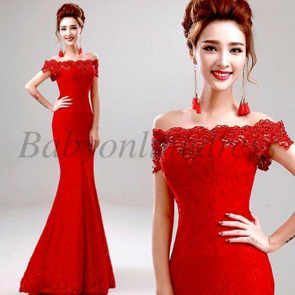 ebbf7c29b2b40 Long Lace Mermaid Evening Gown Prom Bridesmaid Party Dress Formal Cocktail  Dress Red 6 for sale online | eBay