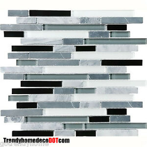 Image Is Loading 1 Sf Gray Black Gl Marble Mosaic Tile
