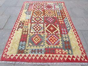 Kilim-Old-Traditional-Hand-Made-Afghan-Oriental-Red-Brown-Wool-Kilim-245x170cm
