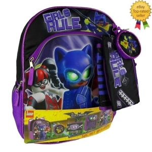 a0f6375a10fa Details about Girls Rule Lego Batman Backpack Lunch Box Accessories 5 Piece  Set Kids NEW