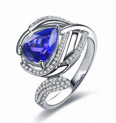 585er Weißgold 1,85kt Natürlich Blau Tansanit Egl Zertifiziert Diamant Ring Fine Jewelry