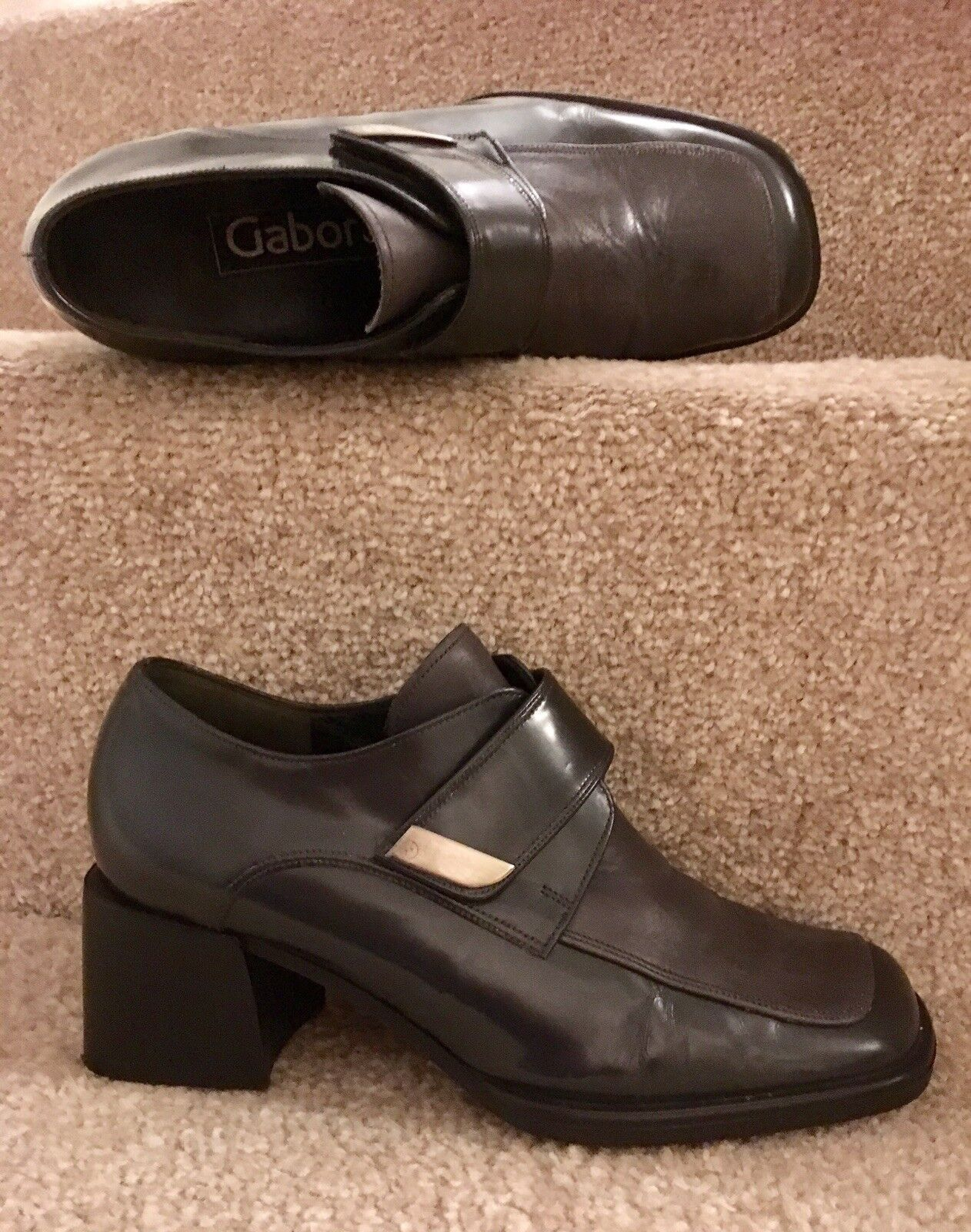 Gabor Fashion Ankle Boots Size 3.5 4 Two Tone Grey Quality Leather Women's shoes
