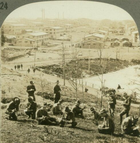 Barracks at Camp Devens. Boys on hillside writing letters Ayer WW1 Stereoview
