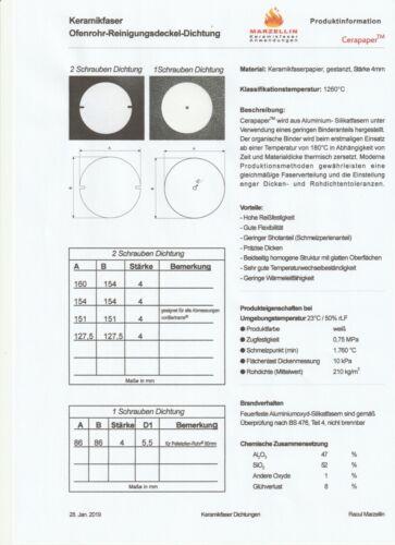 Dichtung für Ofenrohr-Klappen Ø 86 mm bis 160 x 154 mm