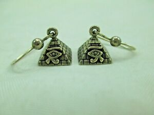 Peter Stone Egyptian EYE OF HORUS Sterling Silver Pyramid Earrings 925 PSCL 440E