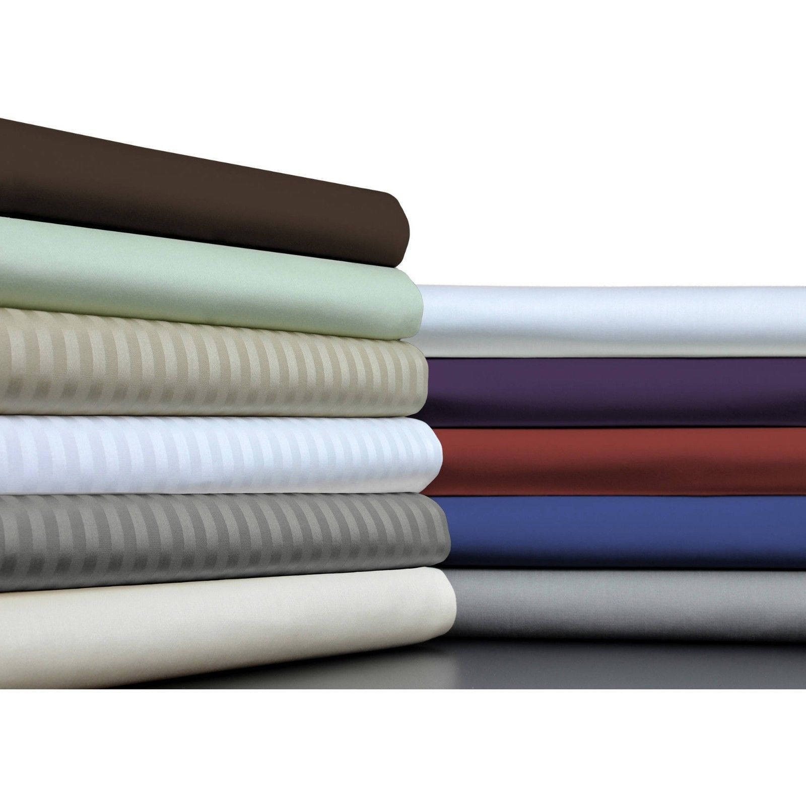 Twin Size Egyptian Cotton Deep Pkt Fitted Sheet+2 PC Pillow Case All colors