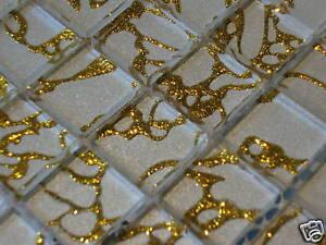 Glasmosaik Mosaik Fliesen Crystal Klarglas Effektmosaik Weiss Gold