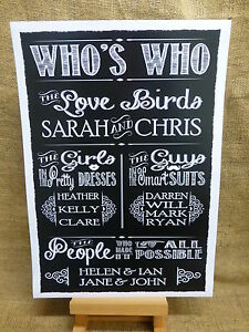 3e1ac588abd9aa Image is loading Personalised-A3-Vintage-Chalkboard-style-WEDDING-WHO-039-