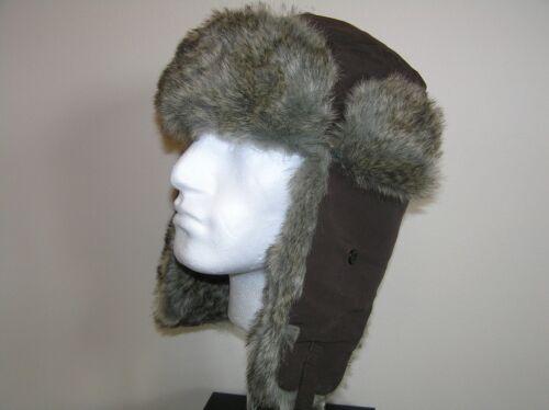 TRAPPER HAT spessa Finta Pelliccia Marrone molto caloroso 60 cm XL NUOVO