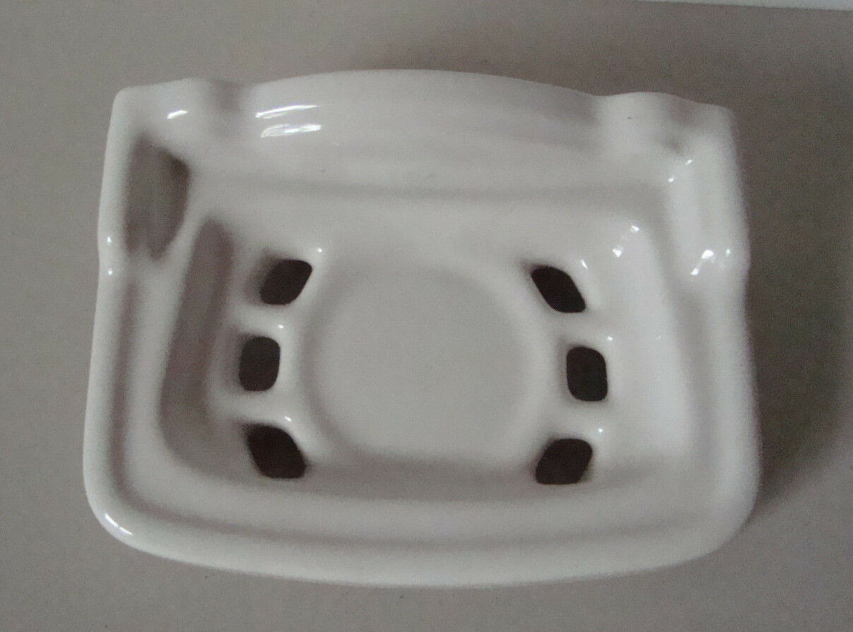 Große Seifenschale Keramik weiß True Vintage Seifenablage 20er Jahre Wandmontage