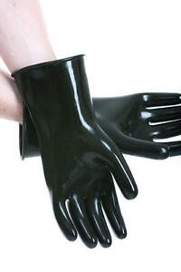 Schwarze-29-cm-GUMMIHANDSCHUHE-Latex-Rubber-Industrial-Gloves-Gay-Fist-Fun-glatt