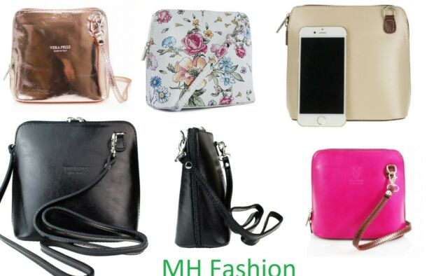 Womens Designer Vera Pelle Leather Small Cross Body Genuine Leather Shoulder Bag