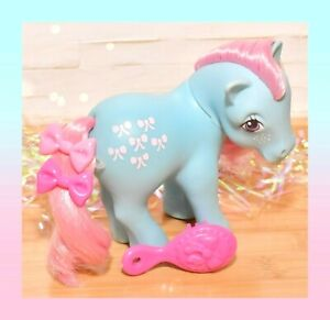 ❤️My Little Pony MLP G1 Vtg 1983 Bow Tie Original Earth Pony Blue Pink Bows❤️