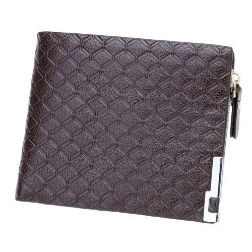 Men/'s Leather Zipper Short Coin Purse Bifold Wallet ID Credit Cards Holder