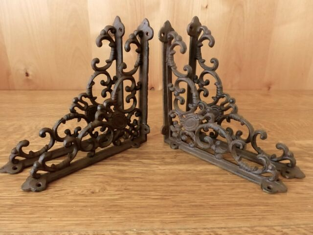 LARGE VICTORIAN VINE SHELF BRACKET BRACE Rustic Antique Brown Cast Iron Corbel