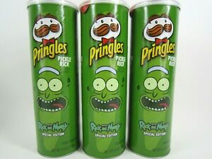 Lot-Of-3-Pringles-PICKLE-RICK-amp-Morty-LIMITED-EDITION-5-5-oz-NEW-SEALED