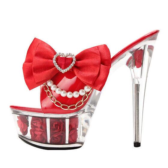 Femmes Noeud Plateforme Talons Aiguilles pantoufle Talons Hauts Fête de Mariage Princesse chaussures