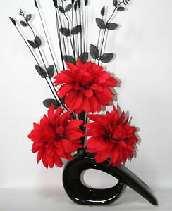 Artificial silk flower arrangement red flowers in small black modern image is loading artificial silk flower arrangement red flowers in small mightylinksfo