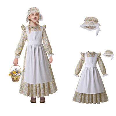 Colonial Girls Pioneer Prairie Costume West Settler Floral Fancy Dress Halloween