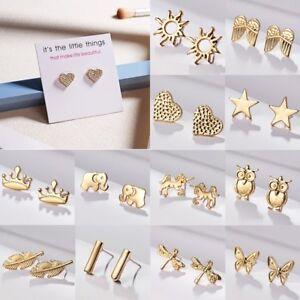 Fashion-Elegant-Gold-Heart-Crown-Star-Butterfly-Ear-Stud-Earrings-Lady-Jewellery