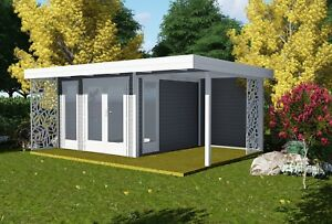 flachdach gartenhaus mit terrasse 3x3m 2m 28mm blockhaus. Black Bedroom Furniture Sets. Home Design Ideas