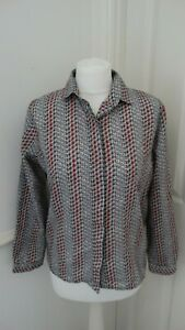 Womens-Homemade-Vintage-Grey-Red-Pattern-Button-Up-Collared-Shirt-UK-12-14