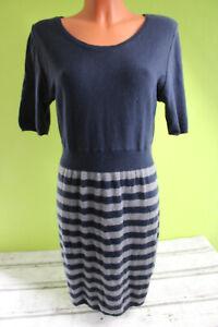 Gina Strickkleid Kleid kurzarm Damen blau grau L 42 ...
