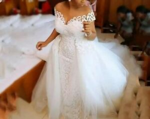 UK White Ivory Champagne Sequins Lace Detachable Train Wedding Dresses Size 6-18