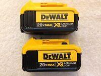 2 New Dewalt 20V Max XR DCB204-2 4.0Ah Lithium Ion Batteries Li-ion