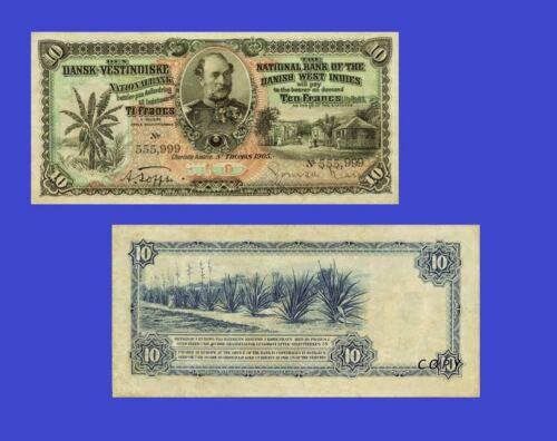 UNC Danish West Indies 10 Francs 1905 Reproductions