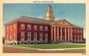 Details about WAREHAM, MA Massachusetts TOWN HALL Plymouth County c1940's  Linen Postcard