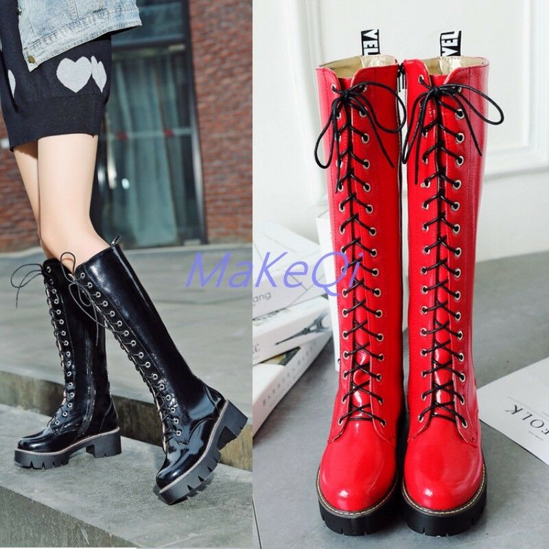Womens Punk Motorcycle Front Lace Up Knee High Boots Med Heel Round Toe shoes
