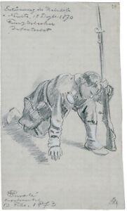 Wilhelm Emelé, Bleistift-/Kreide-Zeichnung, signiert, betitelt & datiert v. 1873